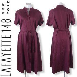 Lafayette 148 linen button waist tie midi dress 16